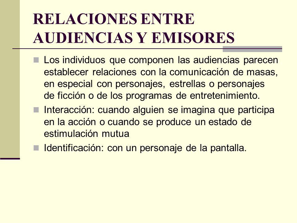RELACIONES ENTRE AUDIENCIAS Y EMISORES Los individuos que componen las audiencias parecen establecer relaciones con la comunicación de masas, en espec
