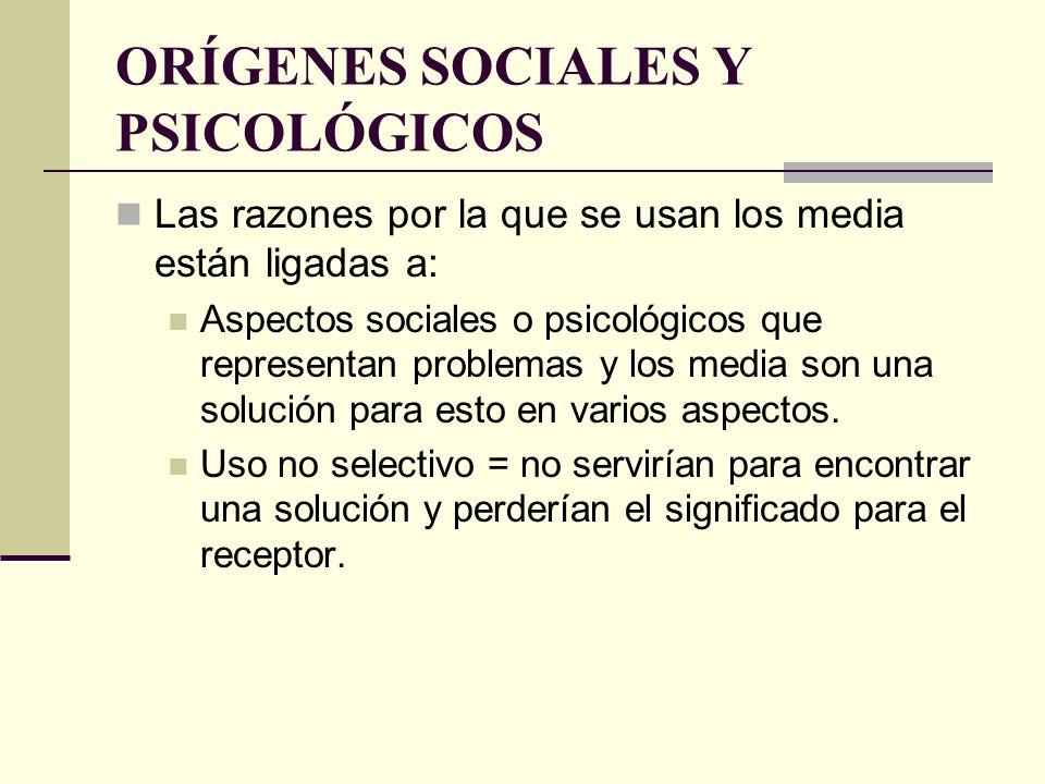 ORÍGENES SOCIALES Y PSICOLÓGICOS Las razones por la que se usan los media están ligadas a: Aspectos sociales o psicológicos que representan problemas