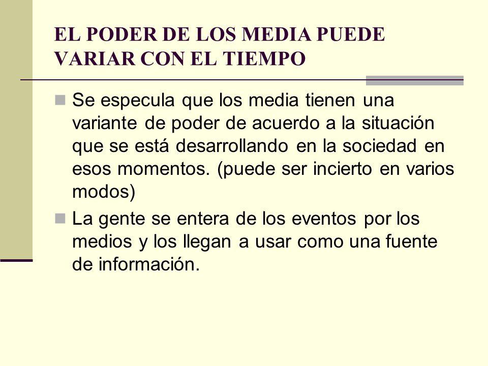 EL PODER DE LOS MEDIA PUEDE VARIAR CON EL TIEMPO Se especula que los media tienen una variante de poder de acuerdo a la situación que se está desarrol