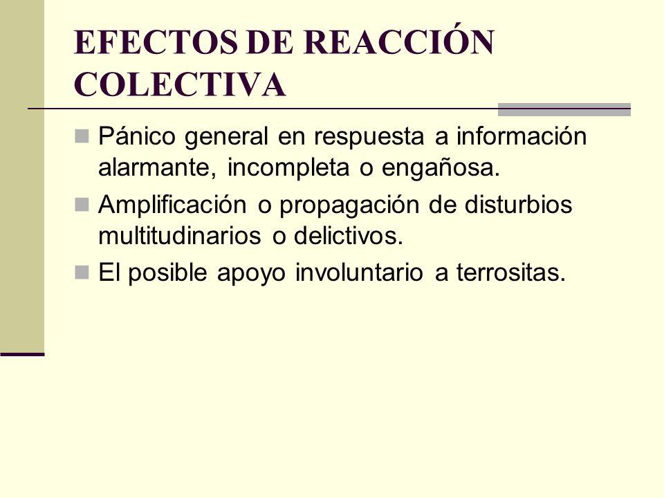 EFECTOS DE REACCIÓN COLECTIVA Pánico general en respuesta a información alarmante, incompleta o engañosa. Amplificación o propagación de disturbios mu