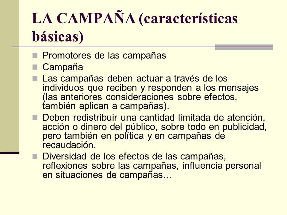 LA CAMPAÑA (características básicas) Promotores de las campañas Campaña Las campañas deben actuar a través de los individuos que reciben y responden a