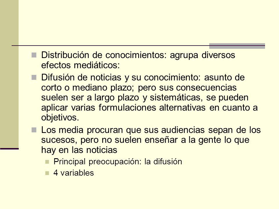 Distribución de conocimientos: agrupa diversos efectos mediáticos: Difusión de noticias y su conocimiento: asunto de corto o mediano plazo; pero sus c