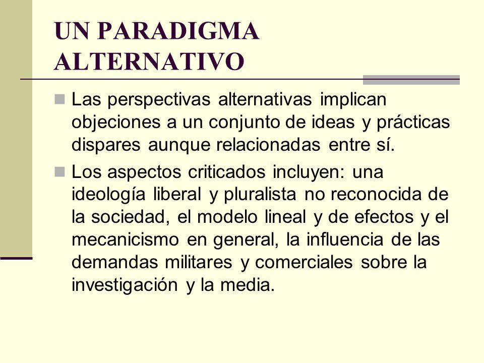 UN PARADIGMA ALTERNATIVO Las perspectivas alternativas implican objeciones a un conjunto de ideas y prácticas dispares aunque relacionadas entre sí. L
