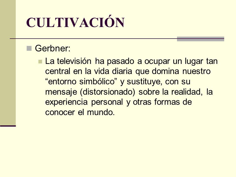 CULTIVACIÓN Gerbner: La televisión ha pasado a ocupar un lugar tan central en la vida diaria que domina nuestro entorno simbólico y sustituye, con su
