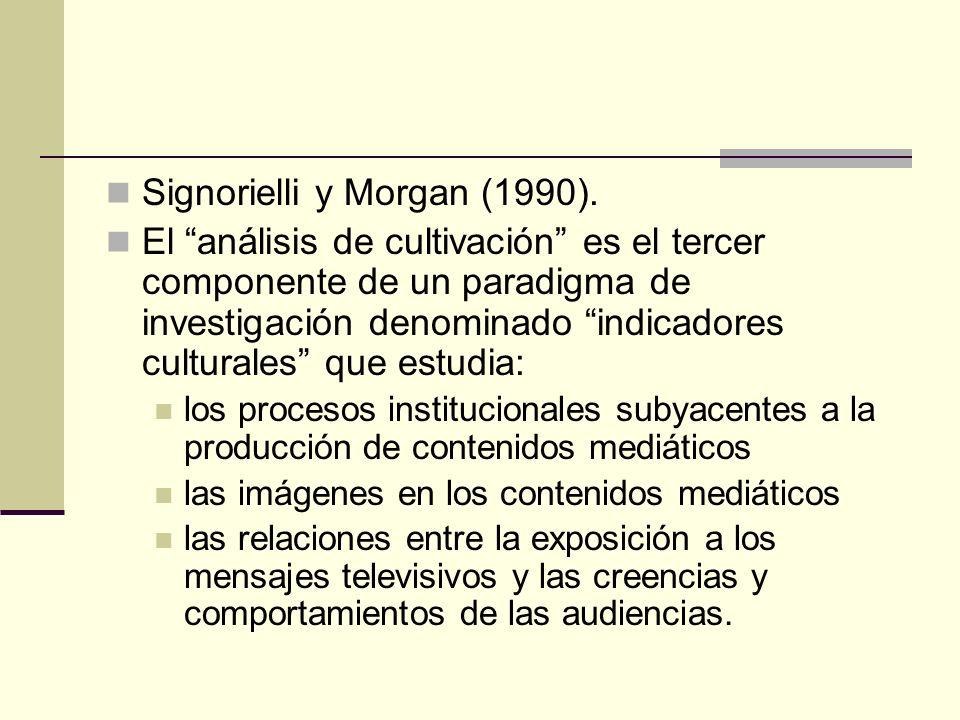 Signorielli y Morgan (1990). El análisis de cultivación es el tercer componente de un paradigma de investigación denominado indicadores culturales que
