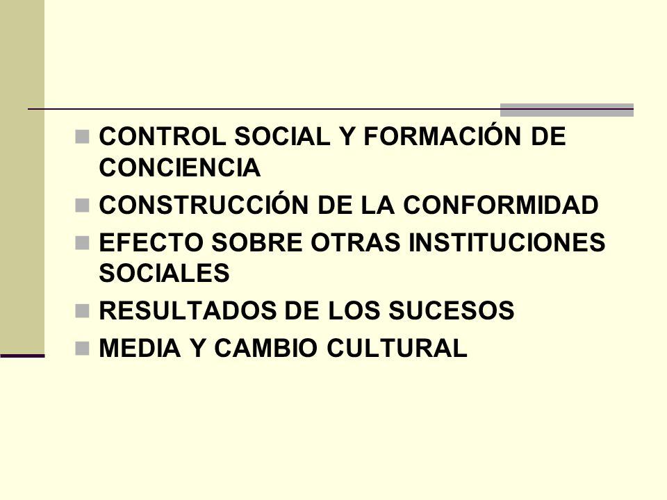 CONTROL SOCIAL Y FORMACIÓN DE CONCIENCIA CONSTRUCCIÓN DE LA CONFORMIDAD EFECTO SOBRE OTRAS INSTITUCIONES SOCIALES RESULTADOS DE LOS SUCESOS MEDIA Y CA