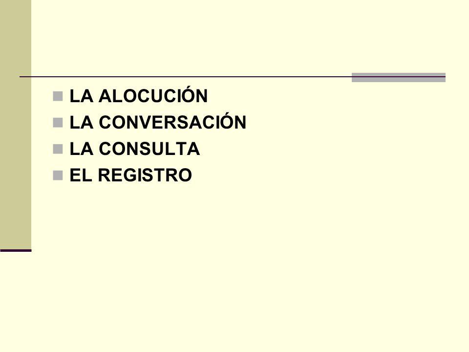 LA ALOCUCIÓN LA CONVERSACIÓN LA CONSULTA EL REGISTRO