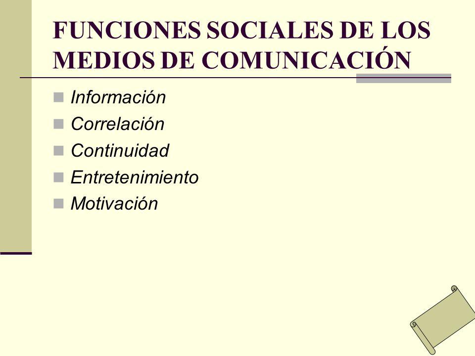 FUNCIONES SOCIALES DE LOS MEDIOS DE COMUNICACIÓN Información Correlación Continuidad Entretenimiento Motivación