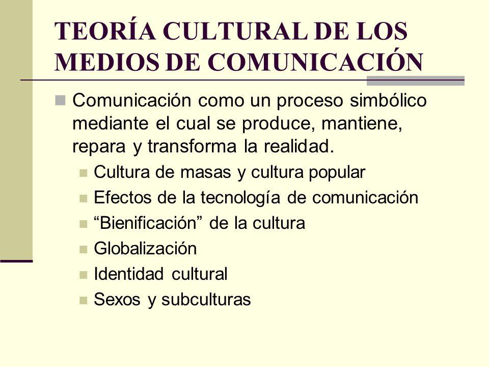 TEORÍA CULTURAL DE LOS MEDIOS DE COMUNICACIÓN Comunicación como un proceso simbólico mediante el cual se produce, mantiene, repara y transforma la rea