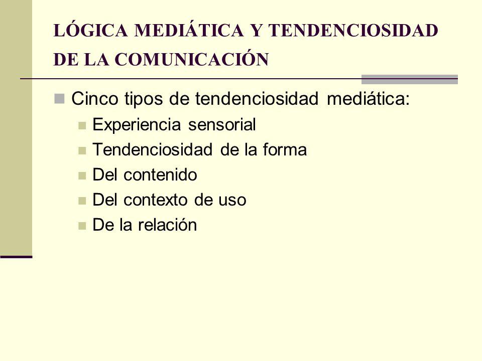 LÓGICA MEDIÁTICA Y TENDENCIOSIDAD DE LA COMUNICACIÓN Cinco tipos de tendenciosidad mediática: Experiencia sensorial Tendenciosidad de la forma Del con