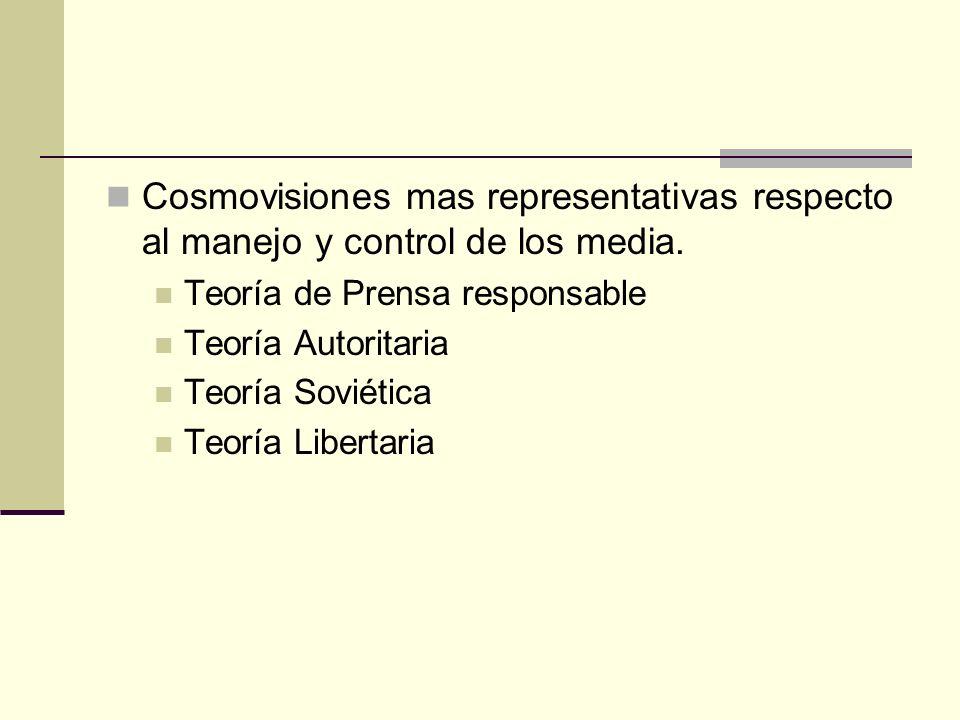 Cosmovisiones mas representativas respecto al manejo y control de los media. Teoría de Prensa responsable Teoría Autoritaria Teoría Soviética Teoría L