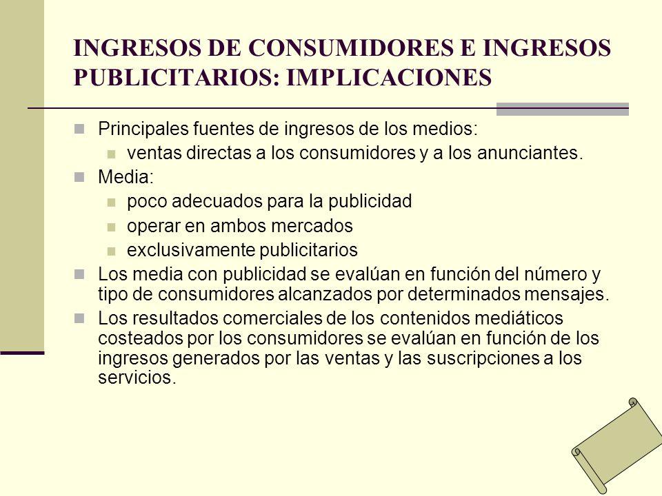 INGRESOS DE CONSUMIDORES E INGRESOS PUBLICITARIOS: IMPLICACIONES Principales fuentes de ingresos de los medios: ventas directas a los consumidores y a