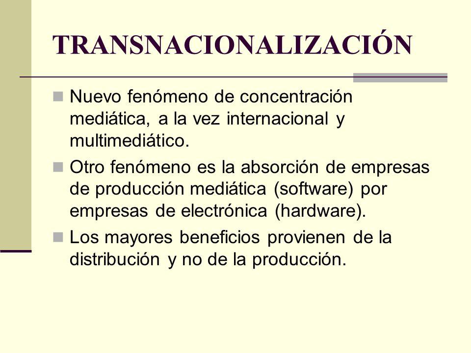 TRANSNACIONALIZACIÓN Nuevo fenómeno de concentración mediática, a la vez internacional y multimediático. Otro fenómeno es la absorción de empresas de