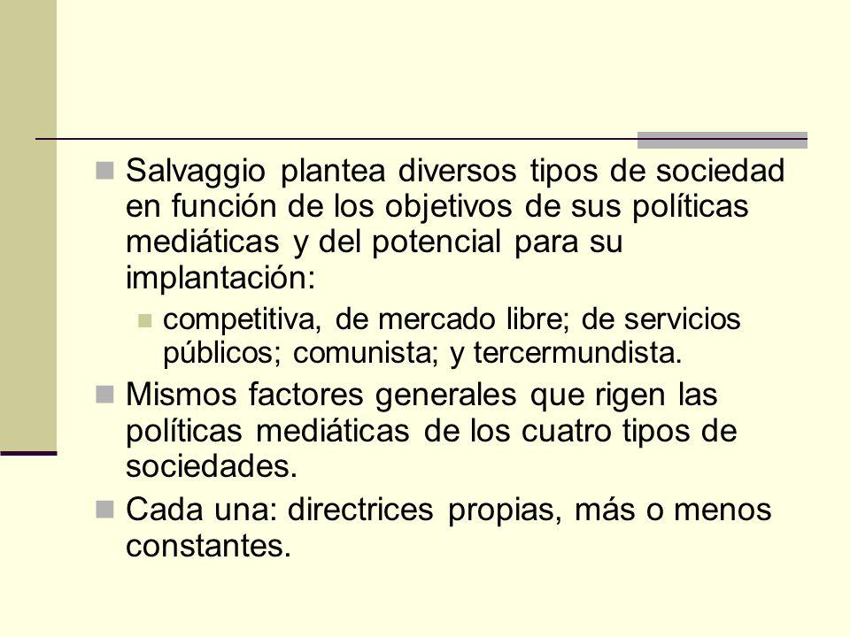 Salvaggio plantea diversos tipos de sociedad en función de los objetivos de sus políticas mediáticas y del potencial para su implantación: competitiva