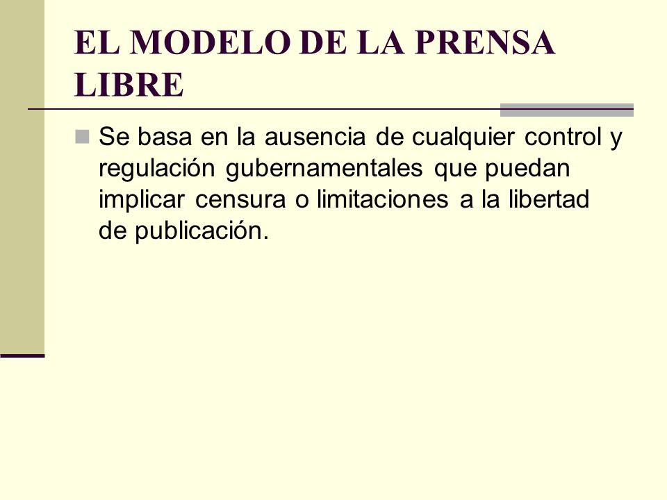 EL MODELO DE LA PRENSA LIBRE Se basa en la ausencia de cualquier control y regulación gubernamentales que puedan implicar censura o limitaciones a la