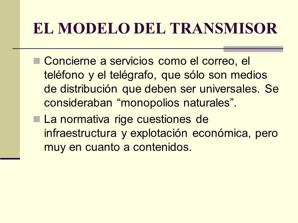 EL MODELO DEL TRANSMISOR Concierne a servicios como el correo, el teléfono y el telégrafo, que sólo son medios de distribución que deben ser universal