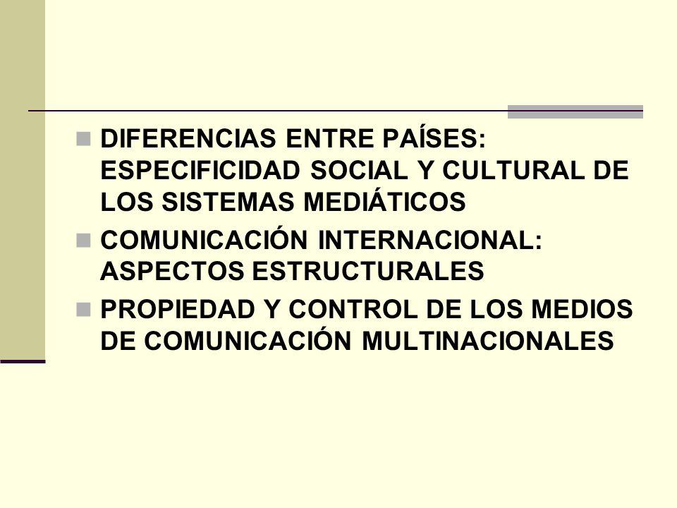 DIFERENCIAS ENTRE PAÍSES: ESPECIFICIDAD SOCIAL Y CULTURAL DE LOS SISTEMAS MEDIÁTICOS COMUNICACIÓN INTERNACIONAL: ASPECTOS ESTRUCTURALES PROPIEDAD Y CO