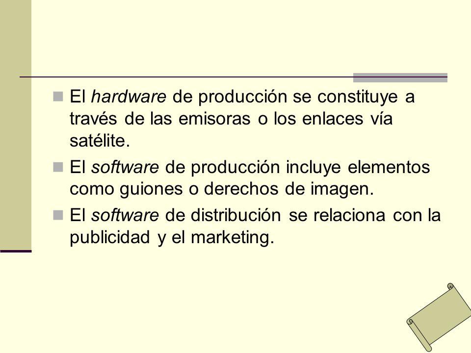 El hardware de producción se constituye a través de las emisoras o los enlaces vía satélite. El software de producción incluye elementos como guiones