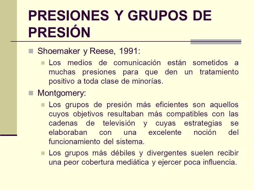 PRESIONES Y GRUPOS DE PRESIÓN Shoemaker y Reese, 1991: Los medios de comunicación están sometidos a muchas presiones para que den un tratamiento posit
