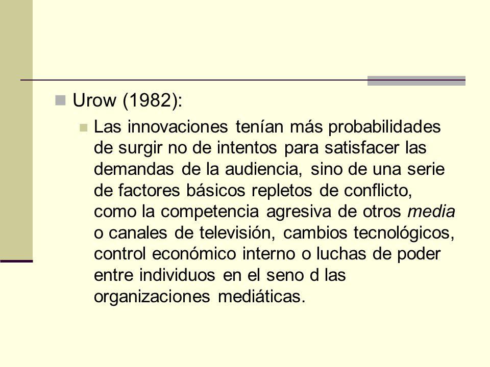 Urow (1982): Las innovaciones tenían más probabilidades de surgir no de intentos para satisfacer las demandas de la audiencia, sino de una serie de fa