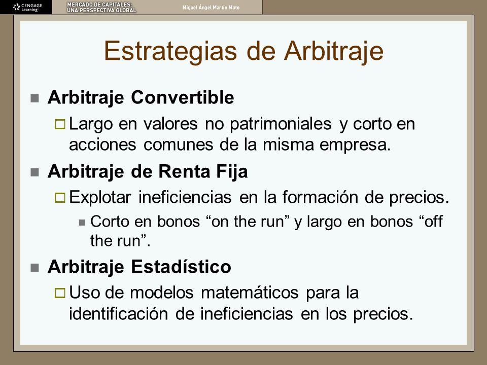 Estrategias de Arbitraje Arbitraje Convertible Largo en valores no patrimoniales y corto en acciones comunes de la misma empresa. Arbitraje de Renta F