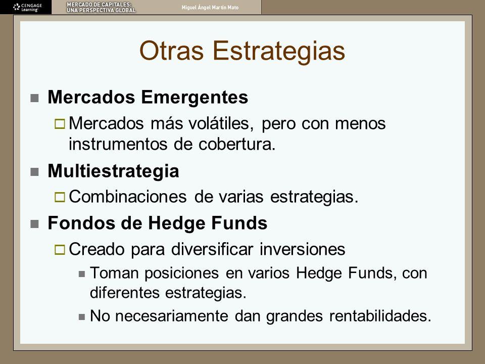 Otras Estrategias Mercados Emergentes Mercados más volátiles, pero con menos instrumentos de cobertura. Multiestrategia Combinaciones de varias estrat
