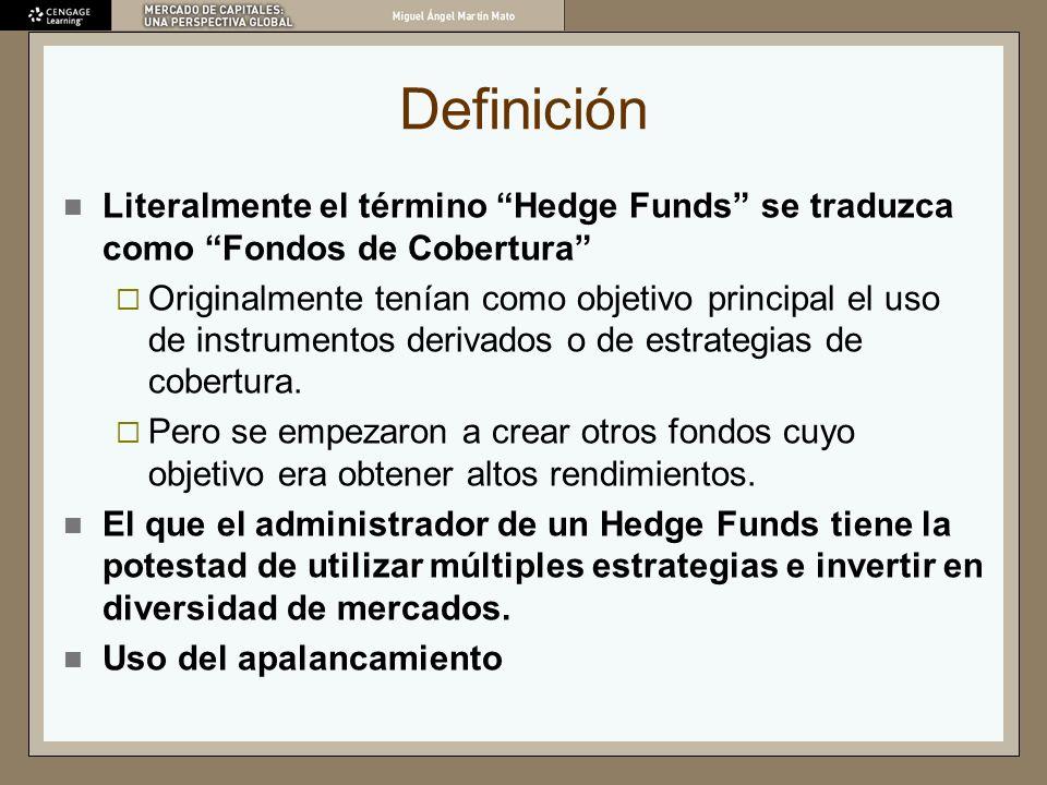 Definición Literalmente el término Hedge Funds se traduzca como Fondos de Cobertura Originalmente tenían como objetivo principal el uso de instrumento