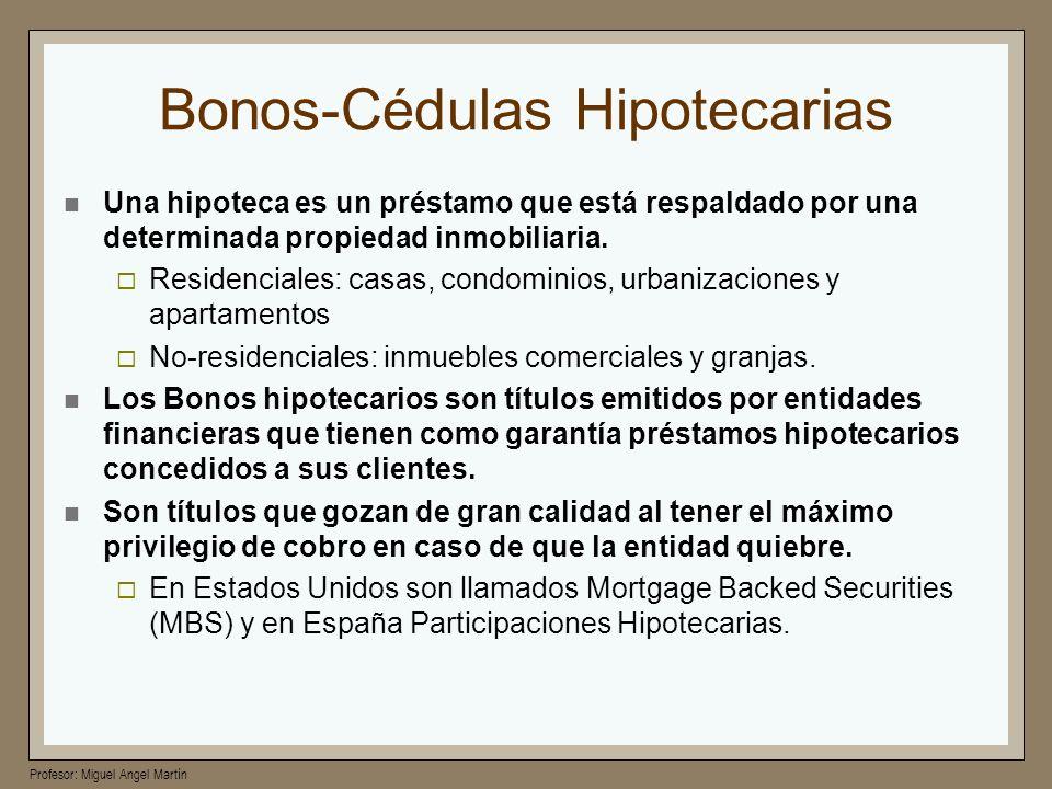 Profesor: Miguel Angel Martín Bonos-Cédulas Hipotecarias Una hipoteca es un préstamo que está respaldado por una determinada propiedad inmobiliaria. R