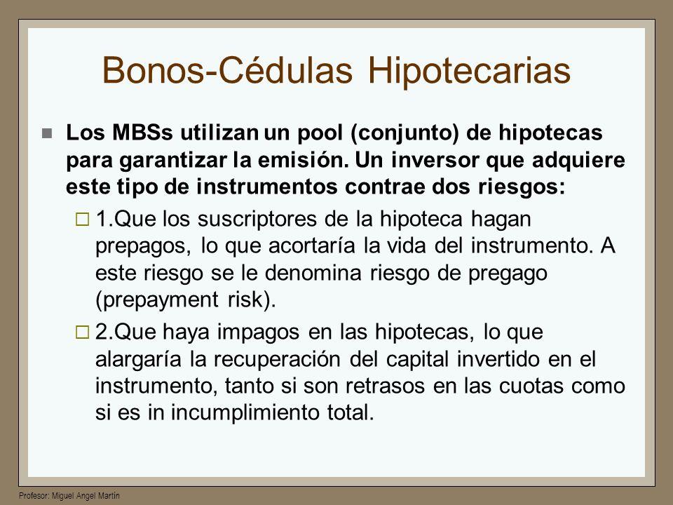 Profesor: Miguel Angel Martín Bonos-Cédulas Hipotecarias Los MBSs utilizan un pool (conjunto) de hipotecas para garantizar la emisión. Un inversor que