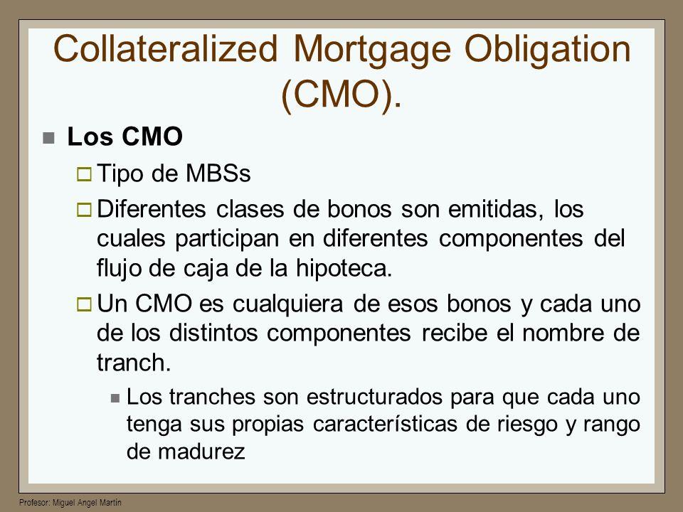 Profesor: Miguel Angel Martín Collateralized Mortgage Obligation (CMO). Los CMO Tipo de MBSs Diferentes clases de bonos son emitidas, los cuales parti