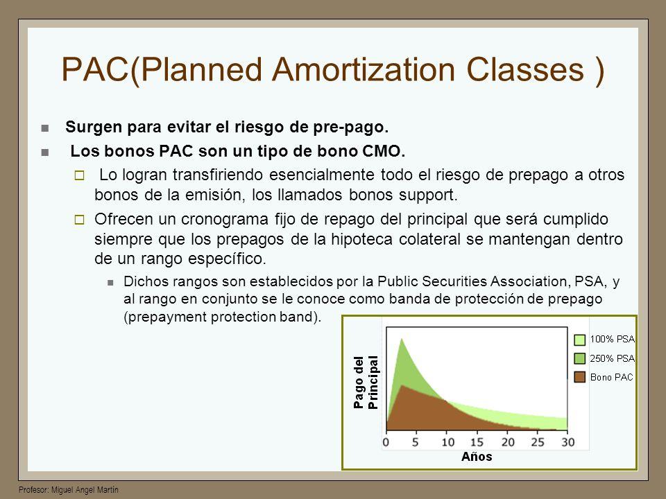 Profesor: Miguel Angel Martín PAC(Planned Amortization Classes ) Surgen para evitar el riesgo de pre-pago. Los bonos PAC son un tipo de bono CMO. Lo l