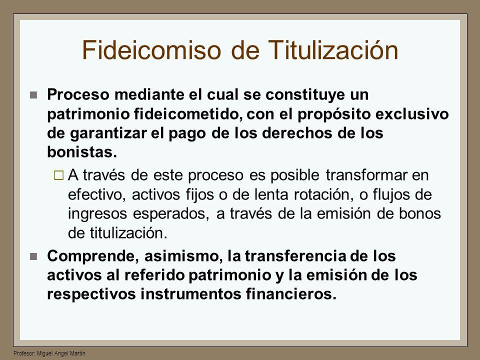 Profesor: Miguel Angel Martín Fideicomiso de Titulización Proceso mediante el cual se constituye un patrimonio fideicometido, con el propósito exclusi