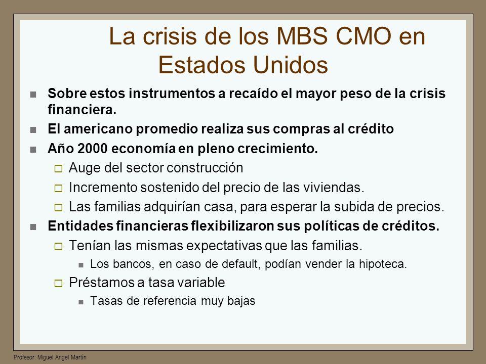 Profesor: Miguel Angel Martín La crisis de los MBS CMO en Estados Unidos Sobre estos instrumentos a recaído el mayor peso de la crisis financiera. El