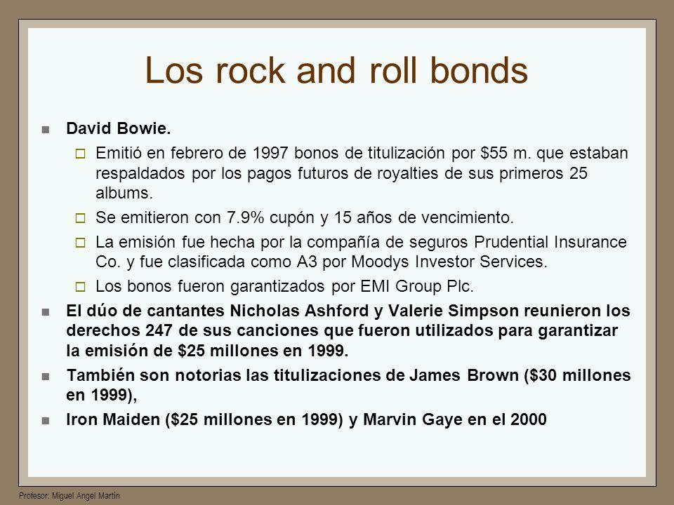 Profesor: Miguel Angel Martín Los rock and roll bonds David Bowie. Emitió en febrero de 1997 bonos de titulización por $55 m. que estaban respaldados