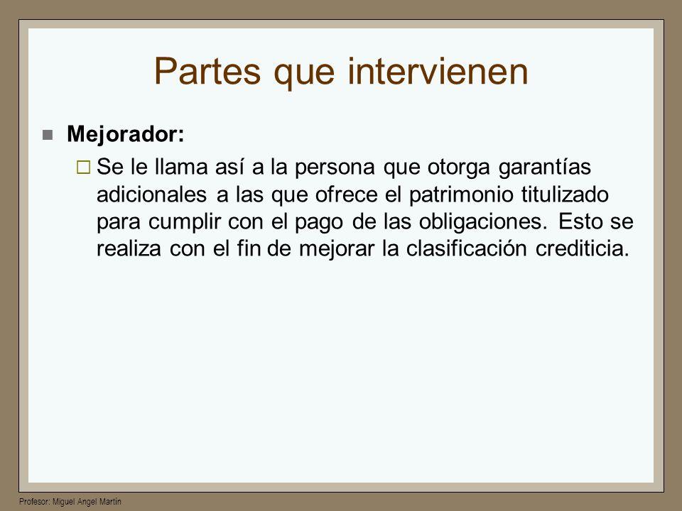 Profesor: Miguel Angel Martín Partes que intervienen Mejorador: Se le llama así a la persona que otorga garantías adicionales a las que ofrece el patr