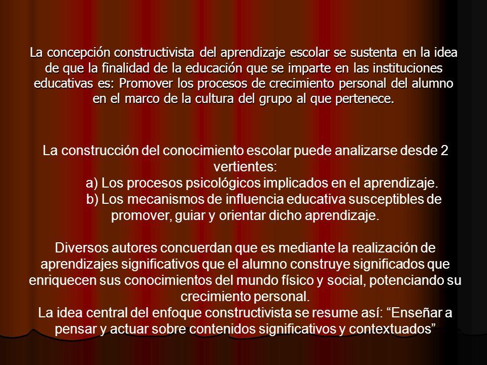 Según Coll, la concepción constructivista se organiza en torno a 3 ideas fundamentales.