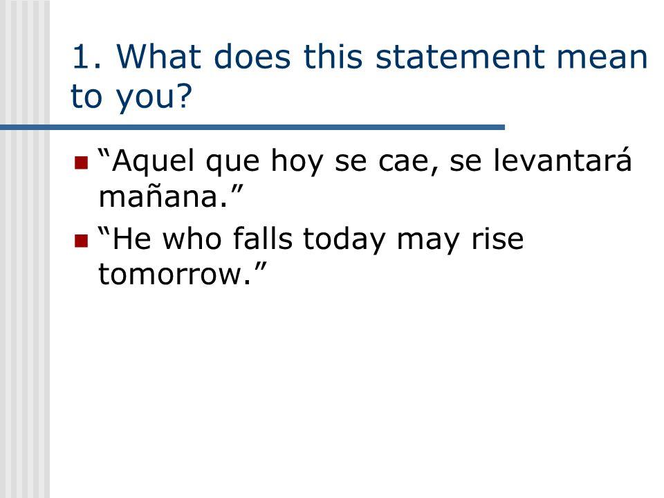 1.What does this statement mean to you. Aquel que hoy se cae, se levantará mañana.