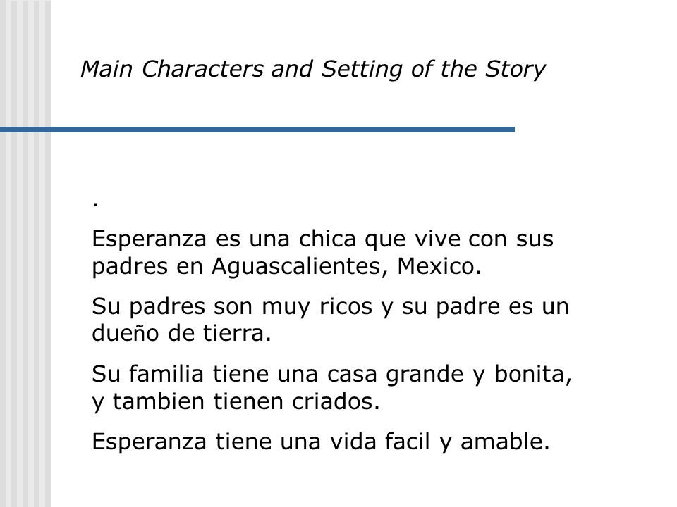 Main Characters and Setting of the Story.