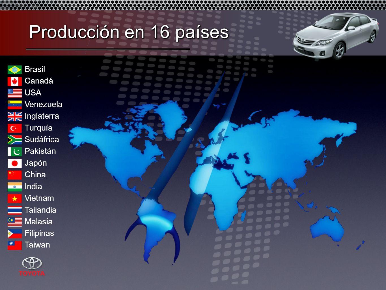 Canadá USA Venezuela Brasil Inglaterra Turquía Sudáfrica China Japón Vietnam India Tailandia Pakistán Malasia Taiwan Filipinas Producción en 16 países