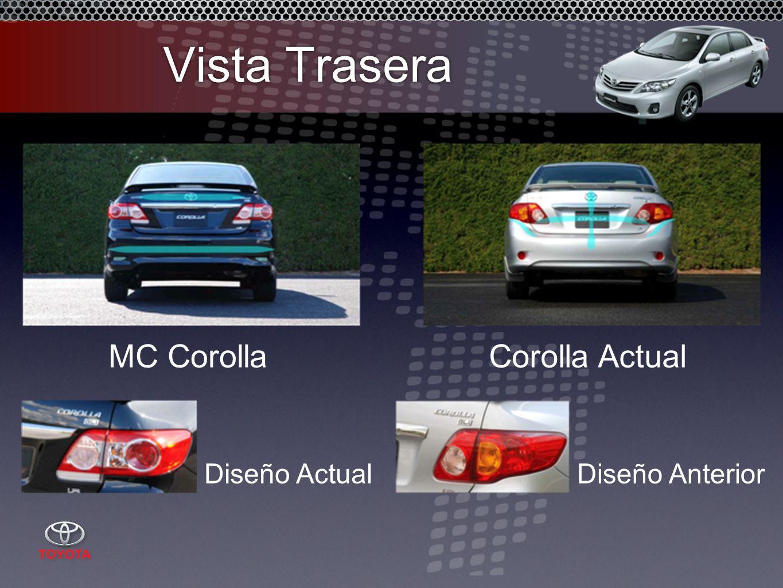 Vista Trasera MC CorollaCorolla Actual Diseño AnteriorDiseño Actual