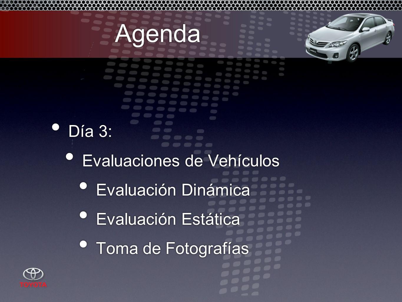 Agenda Día 3: Evaluaciones de Vehículos Evaluación Dinámica Evaluación Estática Toma de Fotografías Día 3: Evaluaciones de Vehículos Evaluación Dinámica Evaluación Estática Toma de Fotografías