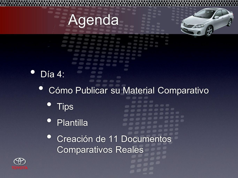 Agenda Día 4: Cómo Publicar su Material Comparativo Tips Plantilla Creación de 11 Documentos Comparativos Reales Día 4: Cómo Publicar su Material Comparativo Tips Plantilla Creación de 11 Documentos Comparativos Reales