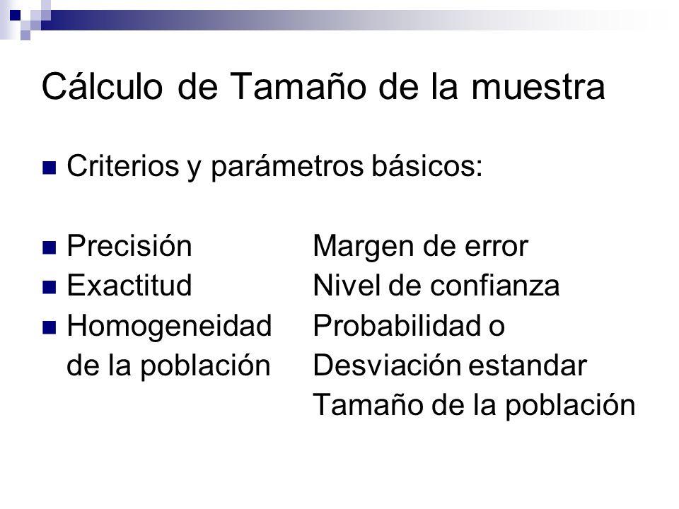 Cálculo de Tamaño de la muestra Criterios y parámetros básicos: PrecisiónMargen de error ExactitudNivel de confianza HomogeneidadProbabilidad o de la poblaciónDesviación estandar Tamaño de la población