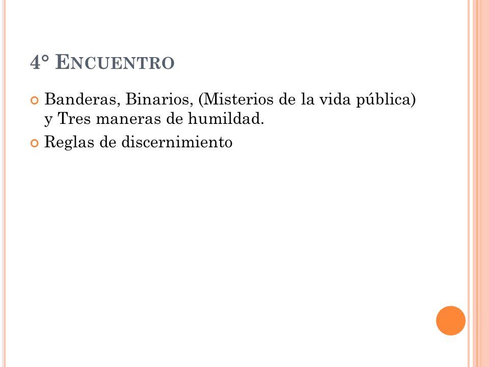 4° E NCUENTRO Banderas, Binarios, (Misterios de la vida pública) y Tres maneras de humildad.