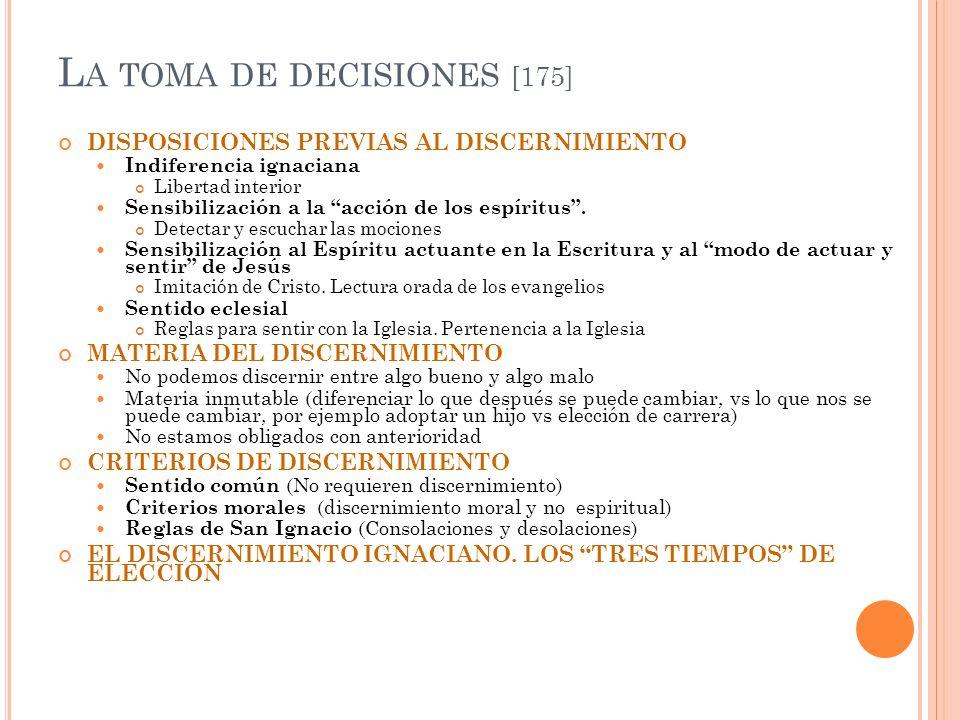 L A TOMA DE DECISIONES [175] DISPOSICIONES PREVIAS AL DISCERNIMIENTO Indiferencia ignaciana Libertad interior Sensibilización a la acción de los espír
