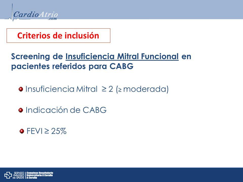 Criterios de inclusión Insuficiencia Mitral 2 ( moderada) Screening de Insuficiencia Mitral Funcional en pacientes referidos para CABG Indicación de C