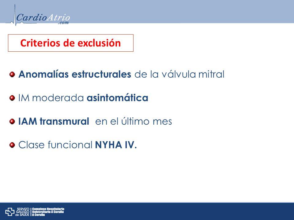 Anomalías estructurales de la válvula mitral IM moderada asintomática IAM transmural en el último mes Clase funcional NYHA IV. Criterios de exclusión