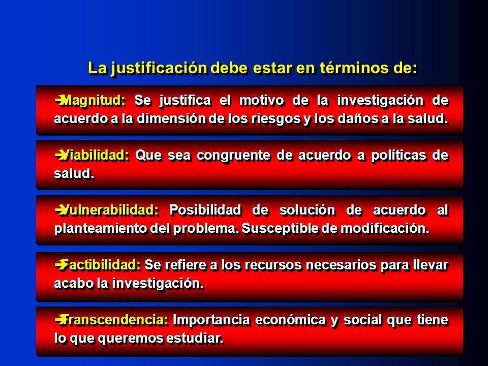 Magnitud: Se justifica el motivo de la investigación de acuerdo a la dimensión de los riesgos y los daños a la salud. Magnitud: Se justifica el motivo