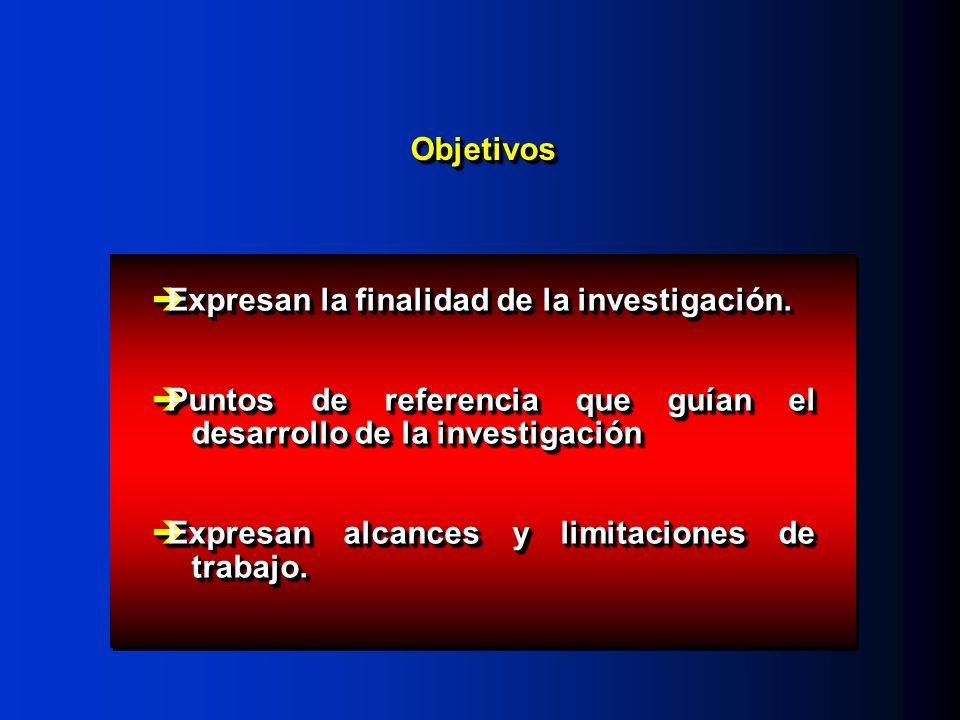 ObjetivosObjetivos Expresan la finalidad de la investigación. Expresan la finalidad de la investigación. Puntos de referencia que guían el desarrollo