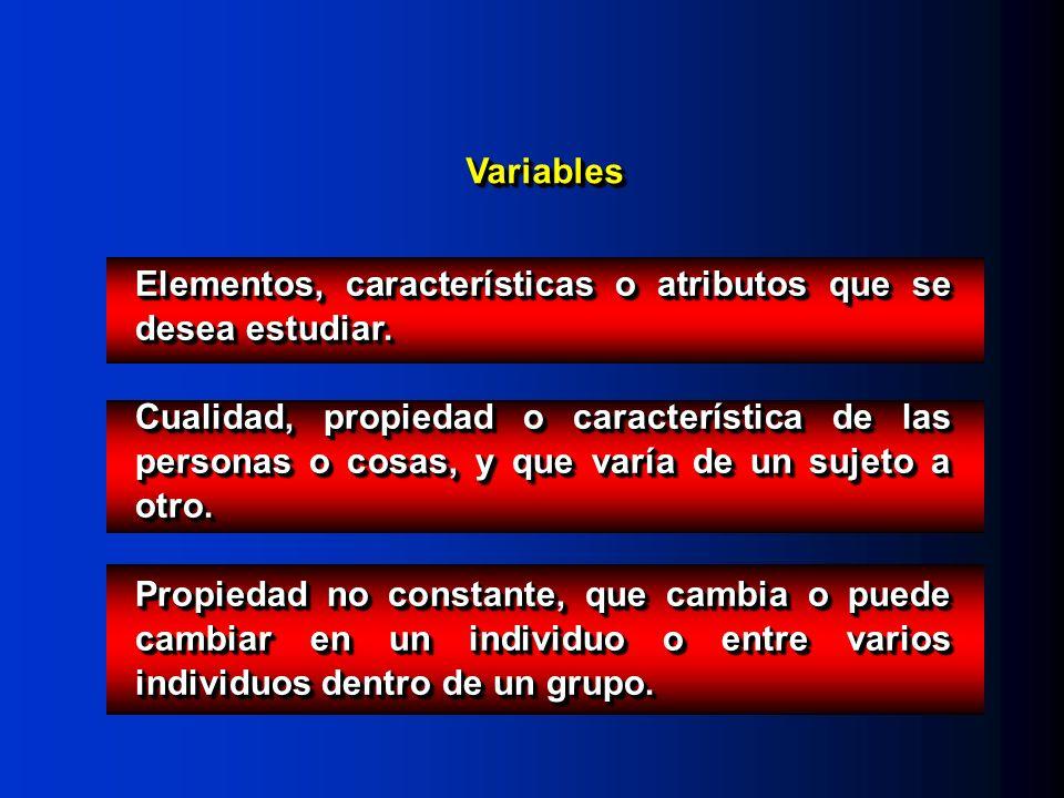 VariablesVariables Elementos, características o atributos que se desea estudiar. Cualidad, propiedad o característica de las personas o cosas, y que v